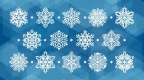 ställ in snowflakes vita Arkivfoton