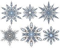 ställ in snowflakesvektorn Arkivbild