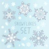 ställ in snowflakesvintern Royaltyfria Foton
