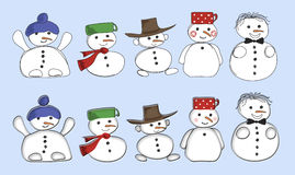 ställ in snowmen stock illustrationer