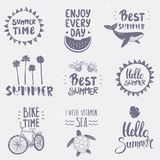 ställ in sommar stock illustrationer