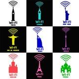 Ställ in stads Wi-Fi symboler och logoer Arkivfoto