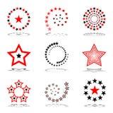 ställ in stjärnor bakgrundsdesignelement fyra vita snowflakes Arkivbilder