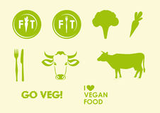 Ställ in strikt vegetarian- och vegetariansymboler stock illustrationer
