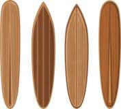 ställ in surfingbrädor trä Royaltyfri Bild