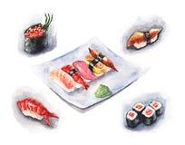 ställ in sushi vektor illustrationer