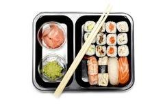 ställ in sushi vita Arkivbilder