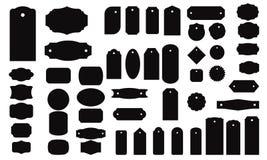 Ställ in svarta monokromma ramar, etiketter och klistermärkear stock illustrationer