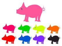Ställ in svin av olika färgpiggys Vektor Illustrationer