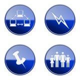 Ställ in symbolen blå glansig #17 Arkivbilder