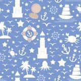 Ställ in symbolen för det vita havet på blå bakgrund seamless modell vektor Royaltyfri Fotografi