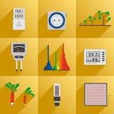 Ställ in symbolen LETT phyto ljus för utrustning för växter Stock Illustrationer
