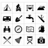Ställ in symboler av att campa Fotografering för Bildbyråer