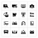 Ställ in symboler av camparen, husvagnen, släp Arkivfoton