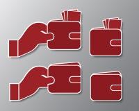 Ställ in symboler av den röda plånboken med sedlar och handen med skugga - är Royaltyfria Bilder