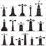 Ställ in symboler av fyrar Fotografering för Bildbyråer