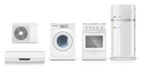 Ställ in symboler av hushållanordningar på en vit bakgrund Arkivbilder