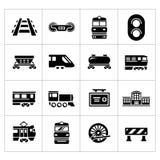 Ställ in symboler av järnväg och drevet Arkivbild