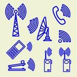 Ställ in symboler av kommunikationen Arkivfoton
