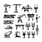 Ställ in symboler av kranen, elevatorer, vinscher och krokar Arkivbild