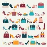 Ställ in symboler av kvinnapåsar och skor - illustration Royaltyfri Bild