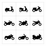 Ställ in symboler av motorcyklar Royaltyfria Bilder