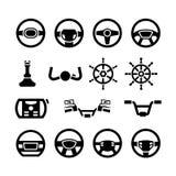 Ställ in symboler av styrninghjulet, det marin- styrning-, roder-, cykel- och motorcykelstyret Royaltyfri Bild