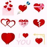 Ställ in symboler av valentins tecken för hjärtor för dag rött Arkivbilder