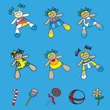 Ställ in symboler behandla som ett barn dockor i olika klänningar Arkivfoto