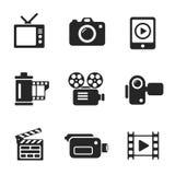 Ställ in symboler för vektordatoren av fotoet och videoen Arkivfoto