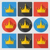 Ställ in symboler med den guld- kronan på runda och fyrkant Royaltyfri Fotografi
