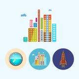 Ställ in symboler med den kulöra väggklockan, moderna byggnader, raket, vektorillustration Arkivbild