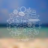 Ställ in symboler på seascapebakgrund vektor Royaltyfri Fotografi
