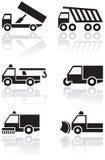 ställ in symbolet lastbil skåpbil vektor Royaltyfria Bilder
