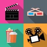 Ställ in symbolsfilmer i en plan stil Arkivbilder