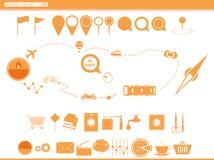ställ in symbolsfunktionslägen av transport navigering Royaltyfri Fotografi