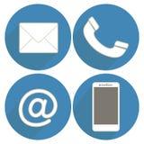 Ställ in symbolskommunikationen på blå bakgrund i plan design Arkivbilder