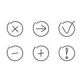 Ställ in symbolspilplusen negativ Arkivbild