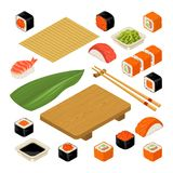 Ställ in symbolssushinigirien och rullar Tjänat som med bambu matt, pinne-, wasabi-, soya- och träplatta vektor illustrationer