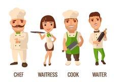 Ställ in symbolsteckenkocken Uppassare kock, servitris, vektor illustrationer