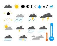 ställ in symbolväder vektor illustrationer