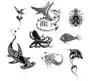 ställ in tatooen Arkivfoto