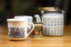 ställ in tea Arkivbilder
