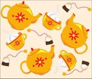 ställ in tea royaltyfri illustrationer