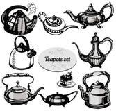 ställ in teapots Royaltyfri Fotografi
