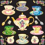 ställ in teavictorianen vektor illustrationer