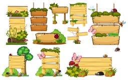 ställ in tecken trä vektor illustrationer