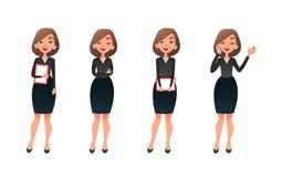 Ställ in teckenet som affärskvinnan i olikt poserar Tecknad filmvektorsekreterare eller lärare på olika funktionsdugliga lägen royaltyfri illustrationer