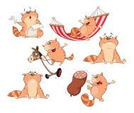 Ställ in tecknad filmillustrationen Gulliga katter för dig design Arkivfoton