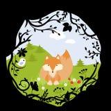 Ställ in tecknade filmen för Forest Fox Bird Wild Cute naturträn stock illustrationer